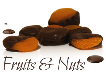 Fruit and Nut dipped chocolates on a white background
